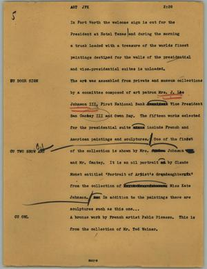 Primary view of object titled '[News Script: Art JFK]'.