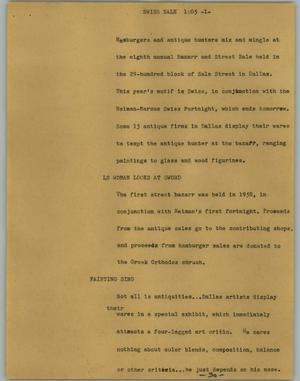 Primary view of object titled '[News Script: Swiss sale]'.