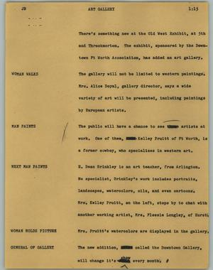 Primary view of object titled '[News Script: Art gallery]'.