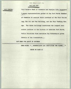 Primary view of object titled '[News Script: Big deals]'.