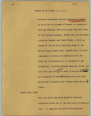 Primary view of object titled '[News Script: Bryant is no billed]'.