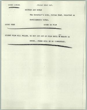 Primary view of object titled '[News Script: Julian Read Sat]'.