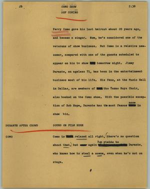 Primary view of object titled '[News Script: Como Show]'.