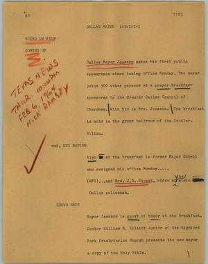 Primary view of object titled '[News Script: Dallas Mayor]'.