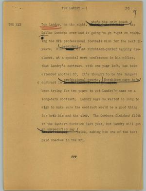 Primary view of object titled '[News Script: Tom landry]'.