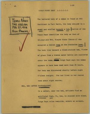 Primary view of object titled '[News Script: Woman found dead]'.