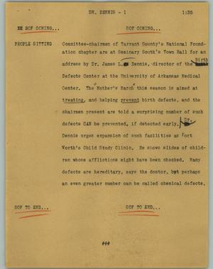 Primary view of object titled '[News Script: Dr. Dennis]'.