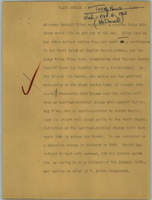 Primary view of object titled '[News Script: Black Muslim]'.