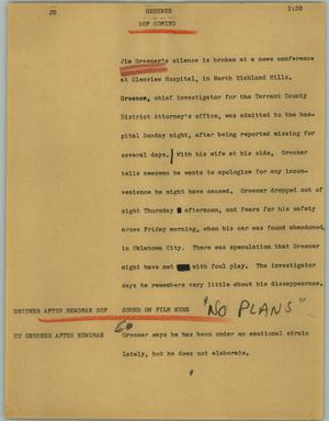 Primary view of object titled '[News Script: Greener]'.