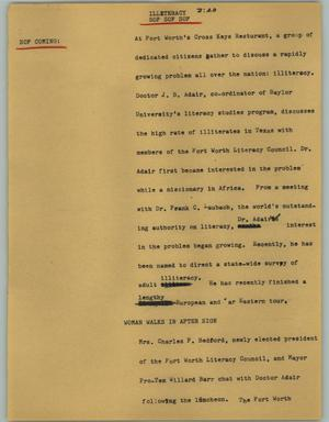 Primary view of object titled '[News Script: Illiteracy]'.