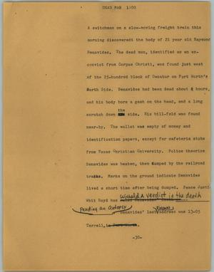 Primary view of object titled '[News Script: Dead man]'.