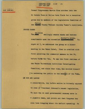 Primary view of object titled '[News Script: Senator Dies]'.