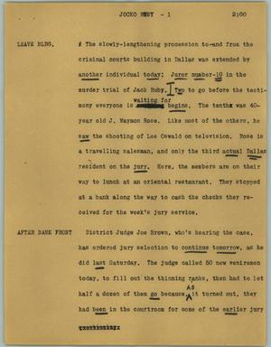 Primary view of object titled '[News Script: Jocko Ruby]'.
