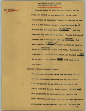 Primary view of object titled '[News Script: Insurance swindle]'.