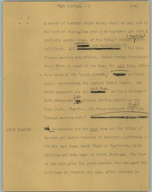 Primary view of object titled '[News Script: Teen football]'.