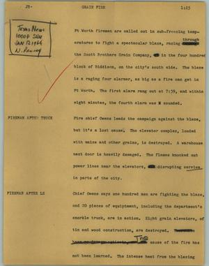 Primary view of object titled '[News Script: Grain fire]'.