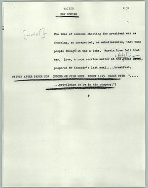 Primary view of object titled '[News Script: Waiter]'.