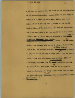 Primary view of object titled '[News Script: Hit and run]'.
