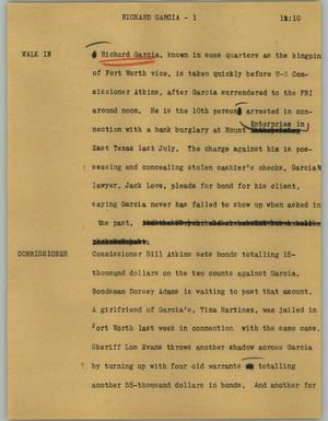 Primary view of object titled '[News Script: Richard Garcia]'.