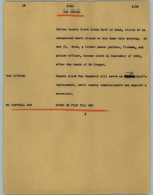Primary view of object titled '[News Script: Byrd]'.