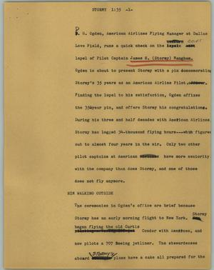 Primary view of object titled '[News Script: Stormy]'.