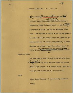 Primary view of object titled '[News Script: Church in hearing]'.