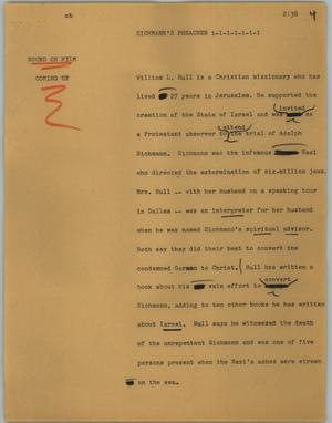 Primary view of object titled '[News Script: Eichmann's preacher]'.