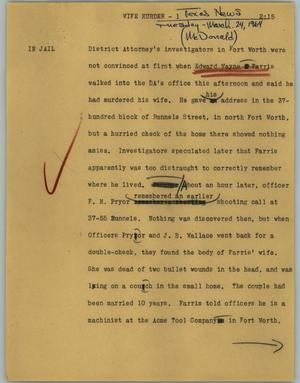 Primary view of object titled '[News Script: Wife murder]'.