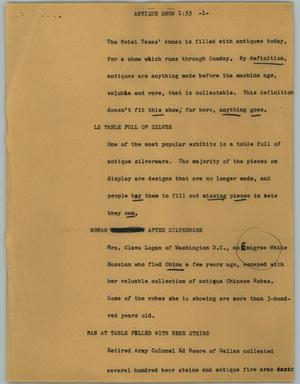 Primary view of object titled '[News Script: Antique show]'.