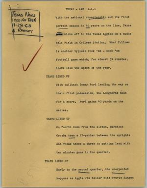 Primary view of object titled '[News Script: Texas - A&M]'.