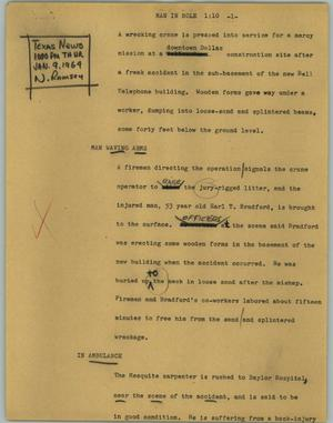 Primary view of object titled '[News Script: Man in hole]'.