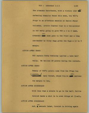 Primary view of object titled '[News Script: TCU - Arkansas]'.