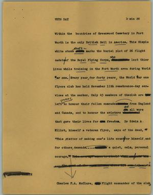 Primary view of object titled '[News Script: Vets day]'.