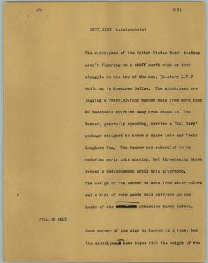 Primary view of object titled '[News Script: Navy sign]'.