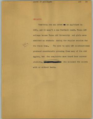 Primary view of object titled '[News Script: Alice in aggieland]'.