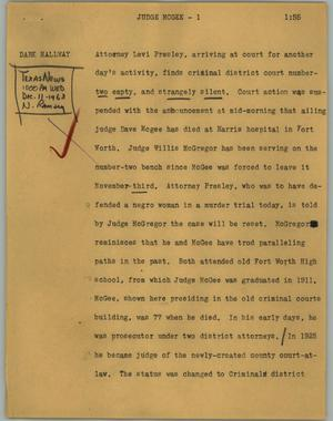 Primary view of object titled '[News Script: Judge McGee]'.