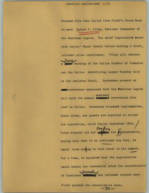 Primary view of object titled '[News Script: American legionairre]'.