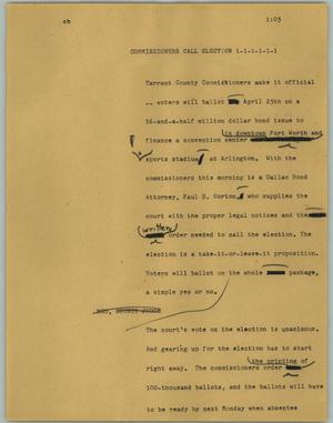 Primary view of object titled '[News Script: Commissioners call election]'.
