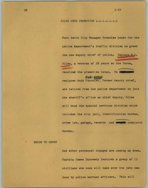 Primary view of object titled '[News Script: Giles gets promotion]'.