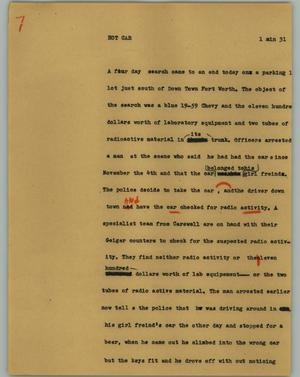 Primary view of object titled '[News Script: Hot car]'.
