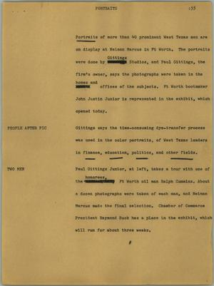 Primary view of object titled '[News Script: Portraits]'.