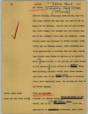 Primary view of object titled '[News Script: Lawyers]'.