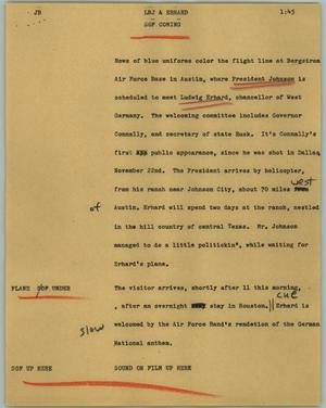 Primary view of object titled '[News Script: LBJ and Erhard]'.