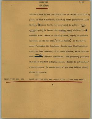 Primary view of object titled '[News Script: Movie man]'.