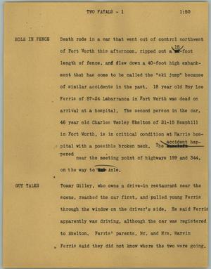 Primary view of object titled '[News Script: Two fatals]'.