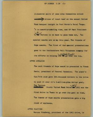 Primary view of object titled '[News Script: UF dinner]'.