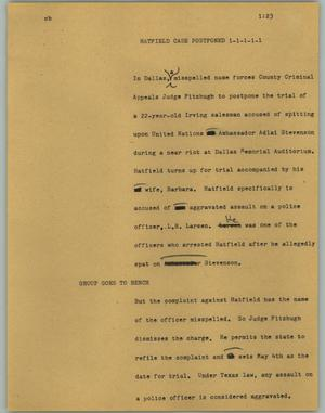 Primary view of object titled '[News Script: Hatfield case postponed]'.