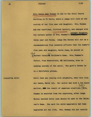 Primary view of object titled '[News Script: Custody]'.