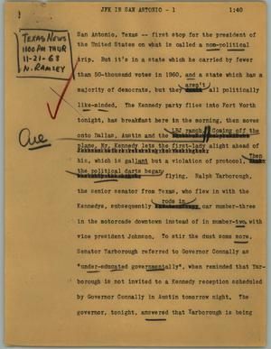 Primary view of object titled '[News Script: JFK in San Antonio]'.