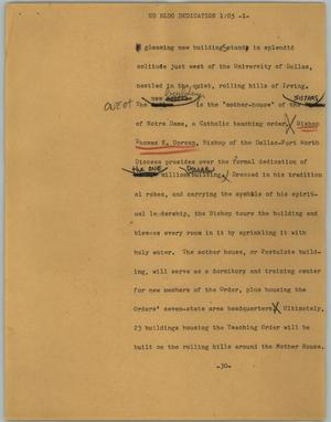 Primary view of object titled '[News Script: UD BLDG education]'.